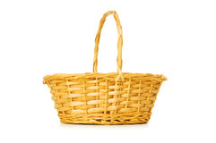 Woven basket isolated. On the white background Royalty Free Stock Photo