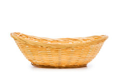 Woven basket isolated on the white Royalty Free Stock Image
