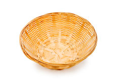 Woven basket isolated on the white Stock Photos