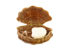 Woven basket and soap Royalty Free Stock Photo