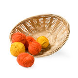 Woven basket with threads. Royalty Free Stock Photography