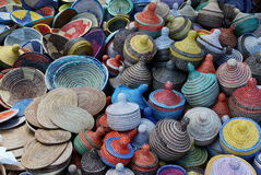 Woven baskets background Stock Image