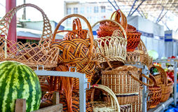 Woven baskets of handmade Stock Photos