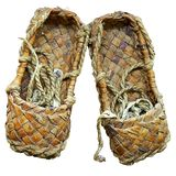 Woven bast sandals. Of ancient Slavic Russia poor peasant Royalty Free Stock Image