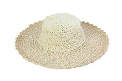 Woven beige hat decorated with rope. Stock Images