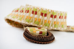 Woven belt with leather buckle. Women's woven belt with leather buckle Stock Images