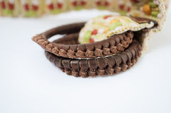Woven belt with leather buckle. Women's woven belt with leather buckle Stock Photos