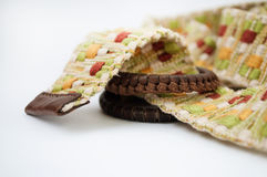 Woven belt with leather buckle. Women's woven belt with leather buckle Royalty Free Stock Image