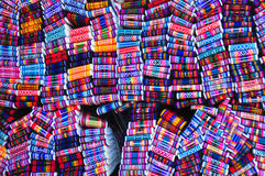 Woven belts. Brightly coloured woven belts in craft market, Ecuador royalty free stock image