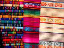 Woven Blankets. For sale in a market in Quito, Ecuador Stock Photos