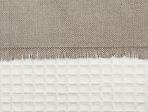 Woven burlap and cotton texture Stock Photos