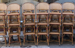 Woven chairs stacked Royalty Free Stock Photography