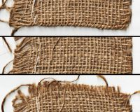 Woven cloth texture in banner Border fabric texture of torn linen sacking cloth Royalty Free Stock Image