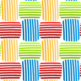 Woven colored stripes seamless pattern. Colored striped interlocking squares background. Seamless Tile royalty free illustration