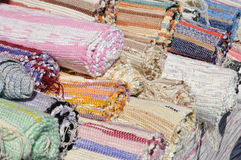 Woven colorful carpets on Royalty Free Stock Photos
