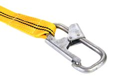 Woven cotton belt and carabiner. Stock Photo