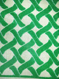 Woven cotton textile in green and white Stock Image