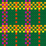 Woven crisscross plaid pattern seamless. Woven crisscross texture with colored warp and weft strands. Can repeat in all directions seamlessly vector illustration