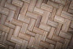 Woven crisscross wooden matting top view.  stock photo