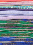 Woven fabrics of Thailand. A woven pattern that folds are stacked Stock Images