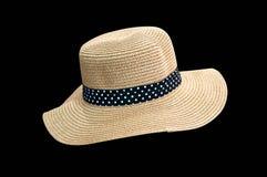 Woven fedora hat isolated on black background Stock Images