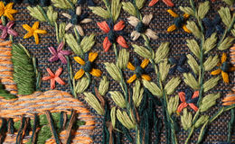 Woven floral tapestry Royalty Free Stock Image