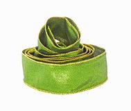 Woven Green Ribbon Gold Trim Stock Photo