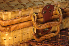 Woven hamper close-up. Woven hamper with handles close-up Stock Image