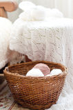 Woven hand made knitting and basket of clews Stock Photography