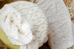 Woven handicraft knit white sweater, cardigan or jumper Royalty Free Stock Images