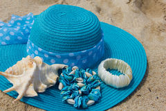 Woven hat on the beach. Royalty Free Stock Photography