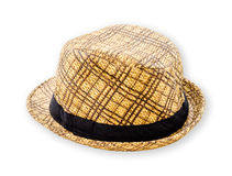 Woven hat closeup isolated on a white. Stock Photos