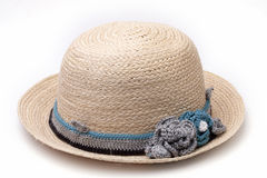 Woven hat decorated isolate on white background Royalty Free Stock Images