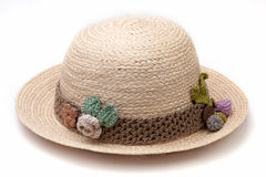 Woven hat decorated isolate on white background Royalty Free Stock Image