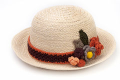 Woven hat decorated isolate on white background Stock Image