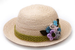 Woven hat decorated isolate on white background Royalty Free Stock Photography