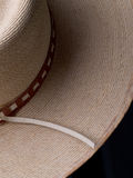 Woven Hat with narrow leather decorative hat band. Partial view on black Royalty Free Stock Image