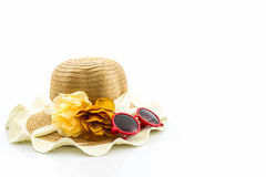 Woven hat, with red sunglasses. Stock Photo
