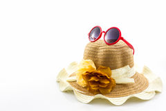 Woven hat, with red sunglasses. Royalty Free Stock Photos