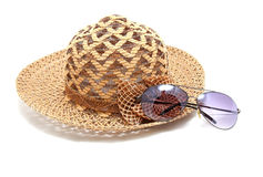Woven hat with sunglasses Stock Photos