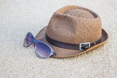 Woven hat with sunglasses. Stock Photography