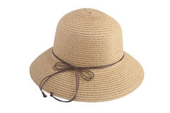 Woven hats decorated with brown leather rope. Woven hats decorated with brown leather rope, isolated on a white background Royalty Free Stock Photos