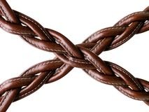 Woven leather. Woven brown leather belt isolated on white Stock Photo