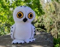 Close-up of a white owl amigurumi stock photo