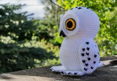 White snow owl in amigurumi version posing in the garden royalty free stock photos