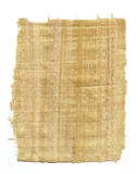 Woven papyrus paper over white. Scrap of handmade papyrus paper with frayed edges on white background stock photography
