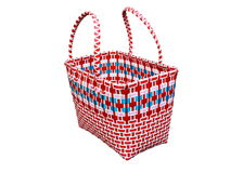 Woven plastic baskets on white background. Royalty Free Stock Photo