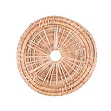 Woven rattan coaster isolated on white Royalty Free Stock Photos