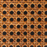 Woven rattan pattern. Close-up of brown woven rattan pattern over black Royalty Free Stock Photos