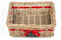 Woven rectangle box,basket with red satin ribbon tape and small blackboard. Royalty Free Stock Image